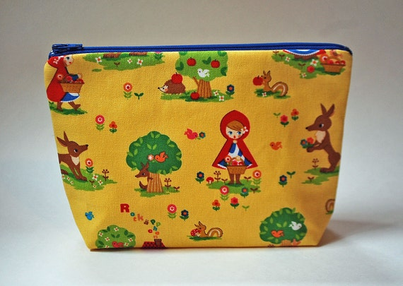 CLEARANCE- The basic clutch / cosmetics / makeup bag --- Little red riding hood