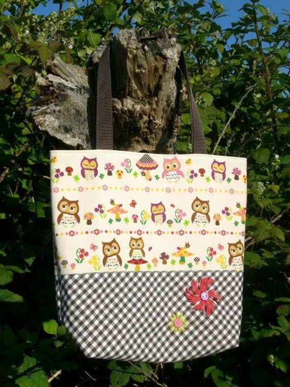 Kawaii- owls and mushrooms tote bag w-free matching coin purse