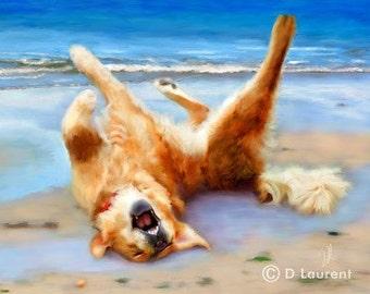 Life's A Beach - Golden Retriever Limited Edition Dog Art Print - Free Shipping