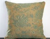 Turquoise and Olive Jacquard Pillow Cover 14 Inch Square --30% off Sale---