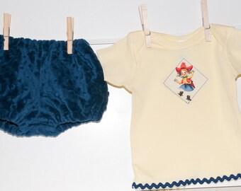 Retro Cowgirl Tee &  Minky Diaper Cover