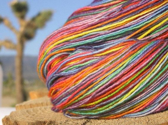 Rainbow - 400 Yards - BFL Fingering Weight Yarn.