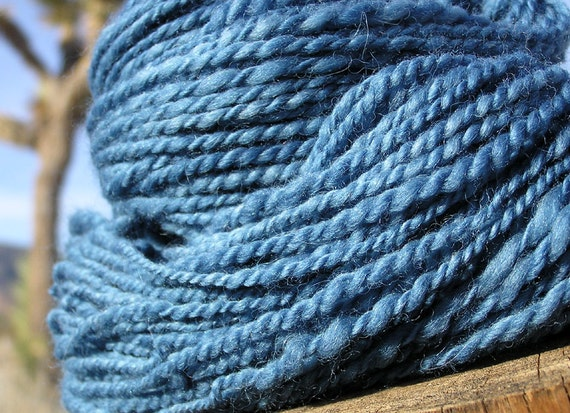 Hand Spun Yarn - Alpaca and Merino Wool - Natural Dye Indigo