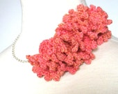 Crocheted Statement Necklace RESERVED FOR DRSPHINX - Coral Ruffle on Silver Chain