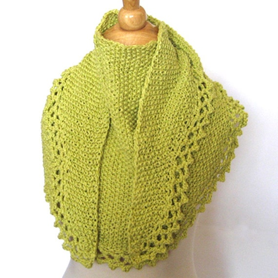 Leaf Green Knit Crochet Shawl Cape Wrap Cowl Eco Friendly