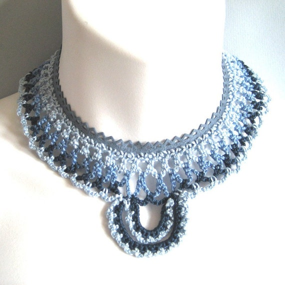 Crochet Necklace: Blue Lace and Suede Collar Bib Statement Necklace