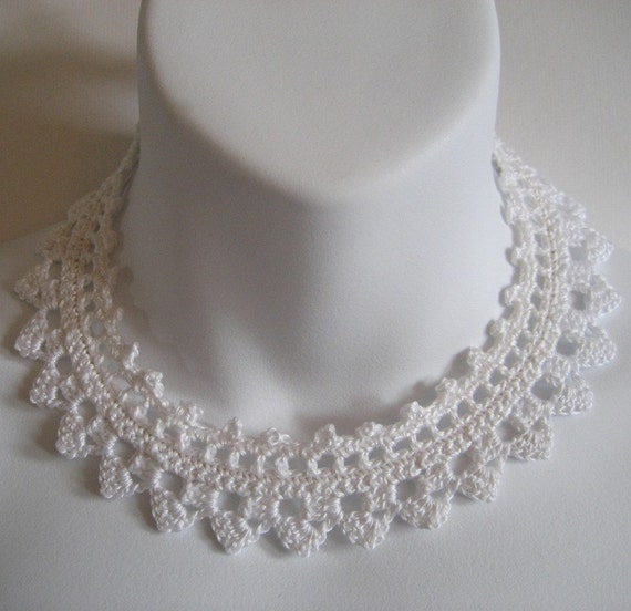 Free Crochet Wedding Jewelry Patterns : White Crochet Lace Choker Necklace Collar Wedding by ...