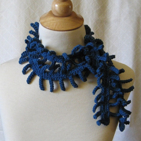 Cobalt Blue Crochet Scarf Lariat - Bamboo Tendrils