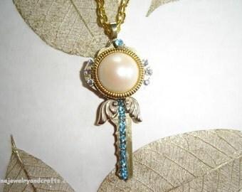 Key pendant with blue Swarovski crystals