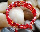 Red beaded spiral bracelet