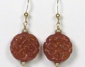 Carved Red Jade Earrings
