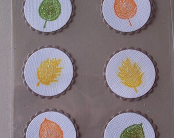 Fall Leaves Stickers / Embellishments Set of Six