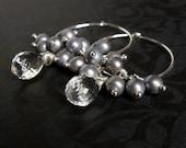 Tara Earrings - Rock Crystal Quartz, Grey Pearl and Sterling Silver