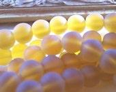 Glass  Beads (1) Strand 8mm DARK AMBER TOPAZ Round Frosted ZNE ESST