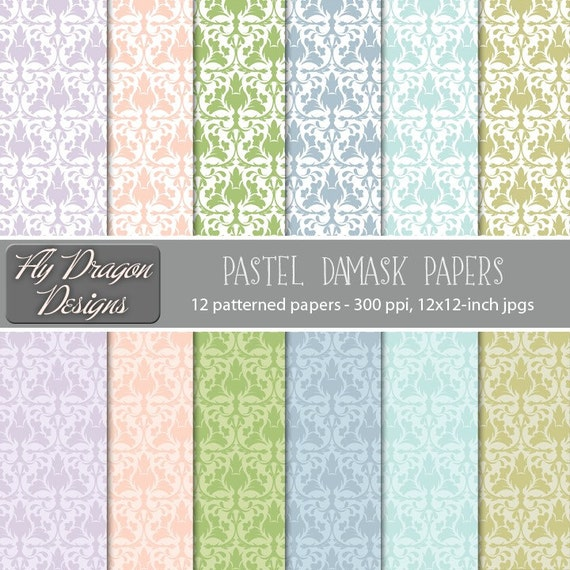 Pastel Pink Damask Digital Papers Green Fancy Patterned Blue Purple Lavender