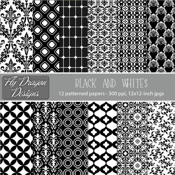 Digital Paper Pack Black and White Damask Dots Floral