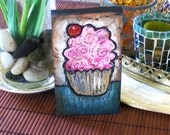 Pink Icing with cherry CUPCAKE - Shelf Sitter - Cute  Adorable Mini Painting ORIGINAL mini wood block painting -Textured Acrylic
