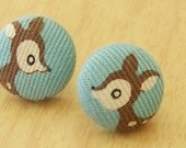 Little Deer - Fabric Button Earrings