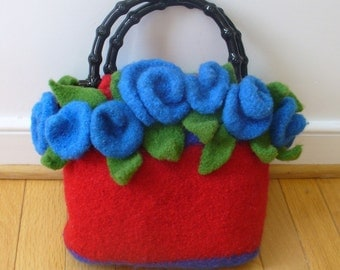 Felted Knitting Pattern Clutch with bonus Roses Pattern   (PDF - instant download)