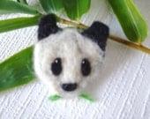 Upcycled Wool Felt Bamboo Panda Pin