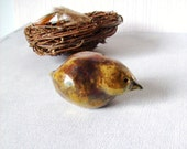 Rustic Copper Bird, Raku Fired Clay Sculpture