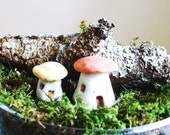 Made To Order, Cute As a Button Mushroom Houses, Set of 2