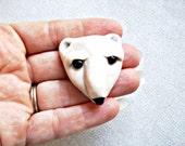 Snowy Porcelain Polar Ice Bear Face Pin