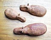 Modern Minimalist Hippopotamus Family Trio Stoneware Ceramic Sculptures, Set of Three Hippos, Made to Order