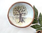 Tree of Life Watercolor Glazed Stoneware Faux Bois Bowl OOAK