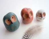 Modern Minimalist Owl Sculpture in Stoneware Ceramic Clay in Teal, Coral, and Cream