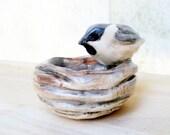 Tiny Watercolor Painted Chickadee Bird Nest Porcelain Trinket Dish