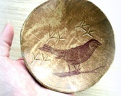 Woodland Sparrow Bird Tracks Stoneware Art Bowl or Trinket Dish