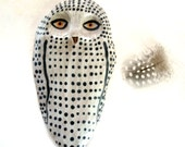 Spotted Snowy Owl Ceramic Wall Hanging