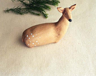 Serene Stoneware Young  Doe Sculpture, Made to Order