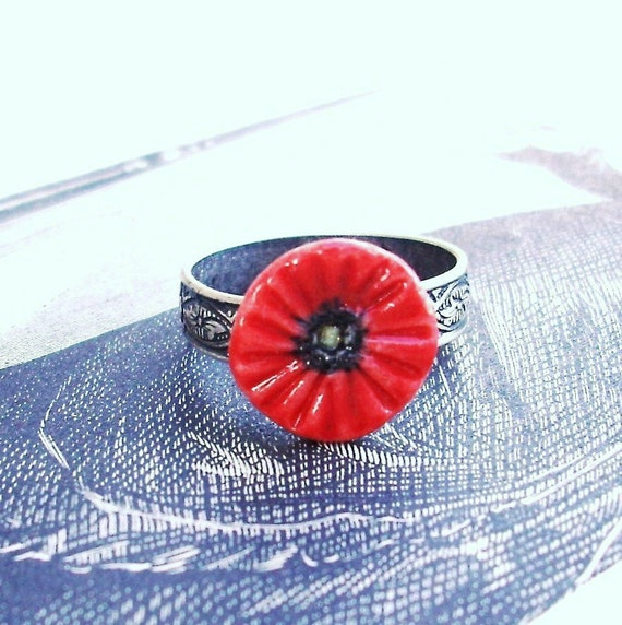 Pretty Scarlet Red  Porcelain Poppy Flower Adjustable Ring in Sterling Silver Plate