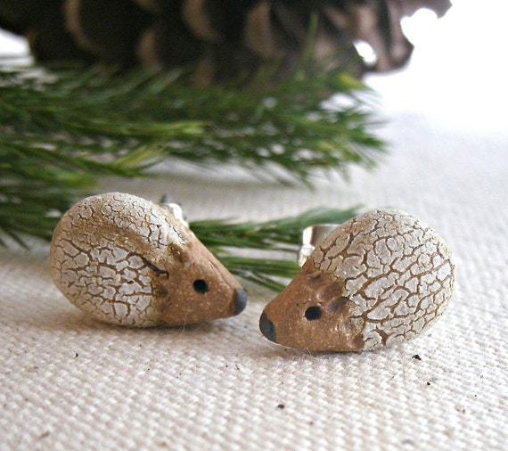 White and Brown Crackle Hedgehog Stud Earrings, So Tiny and Cute-Made to Order
