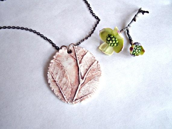 Rusted Sprig of Elm Porcelain Pendant Necklace
