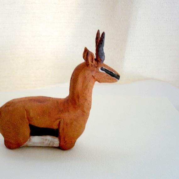 African Thomson's Gazelle, Stoneware Ceramic Sculpture Bust,