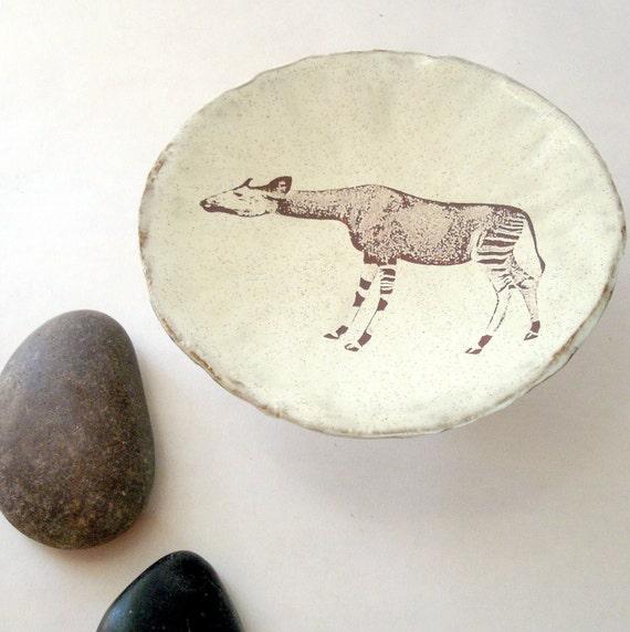 Rustic  African Okapi Stoneware Art Bowl or Trinket Dish