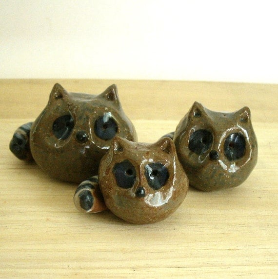 Rustic Minimalist Raccoon Family of Three Sculptures