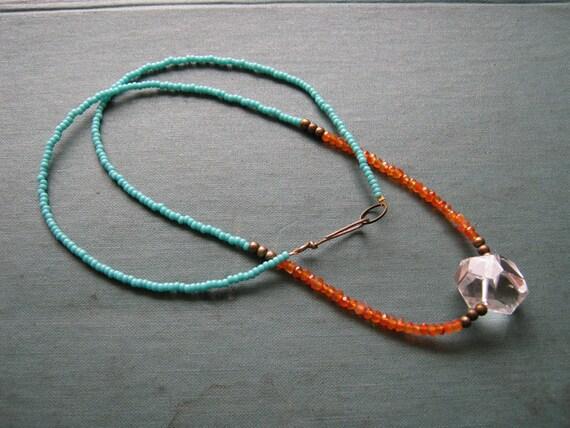 SALE 25% off Geo Necklace Crystal - quartz, carnelian, turquoise, brass, minimal, modern