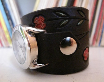 Black and Poppies Leather Watch Cuff