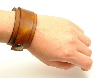 Wrap Around Snap Brown Leather Cuff