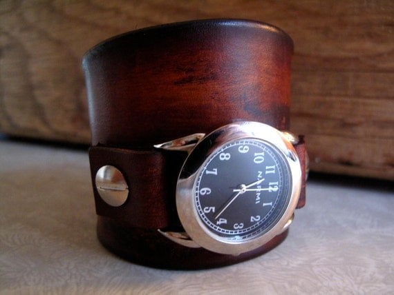 Brown Leather Watch Cuff