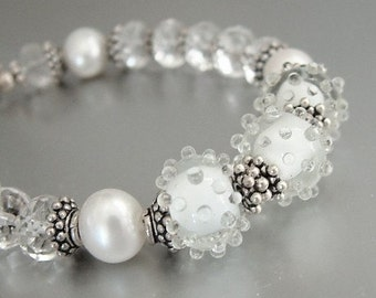 Lampwork Bracele,t White Snow and Ice Pearl, Crystal Quartz Stone, Oxidized Sterling Silver Bracelet, USA Handmade, Wedding Bridal White