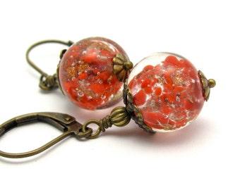 Sommerso Glass Earrings, Beaded Earrings, Vintage Glass Beads, Red Earrings, Christmas Holiday Jewelry, Gift for Her, Stocking Stuffer