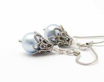 Pearl Bridal Earrings - Blue Pearl Earrings - Pearl Bridesmaid Earrings - Wedding Jewelry - Steampunk Earrings - Hawaii Beads Jewelry
