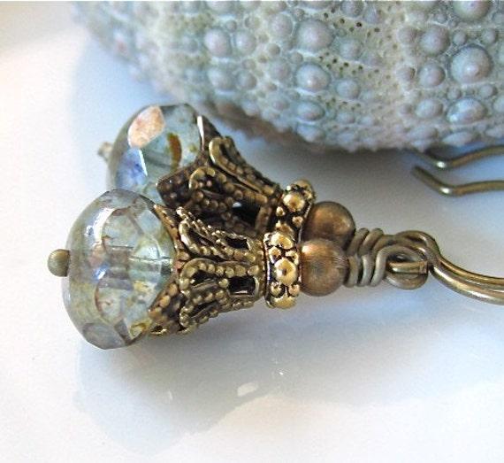 Free Shipping Earrings. Moss Gray Green Glass Golden Vintage Style Dangle Hawaiibeads