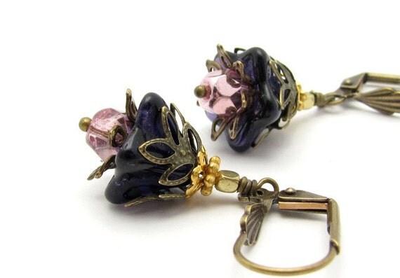 Purple Flower Earrings Metallic Rose Czech Glass Antiqued Goldtone Dangles Hawaii Flowers