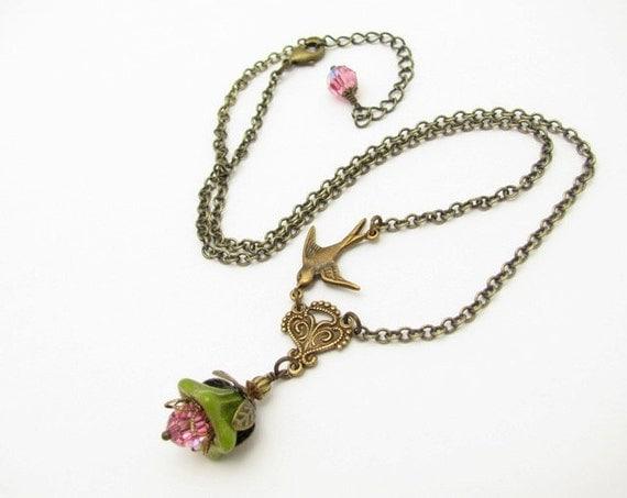 Necklace Flower Bird Chain Green Glass Rose AB Swarovski Crystals